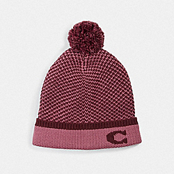 COLORBLOCKED KNIT HAT WITH POM POM - PINK - COACH F76492