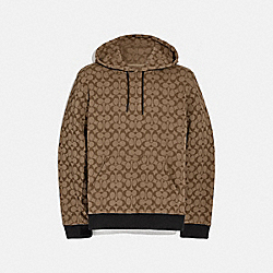 ALLOVER SIGNATURE HOODIE - KHAKI/BLACK - COACH F76504