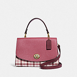 TILLY TOP HANDLE SATCHEL WITH GINGHAM PRINT - BROWN PINK MULTI/GOLD - COACH F76615