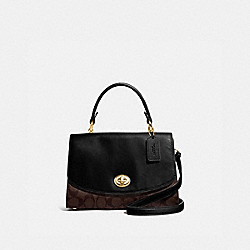 TILLY TOP HANDLE SATCHEL WITH SIGNATURE CANVAS - BROWN/BLACK/GOLD - COACH F76620