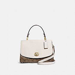 TILLY TOP HANDLE SATCHEL WITH SIGNATURE CANVAS - KHAKI/CHALK/GOLD - COACH F76620