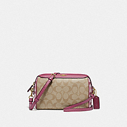 BENNETT CROSSBODY IN SIGNATURE CANVAS WITH GINGHAM PRINT - ROUGE LIGHT KHAKI MULTI/GOLD - COACH F76630