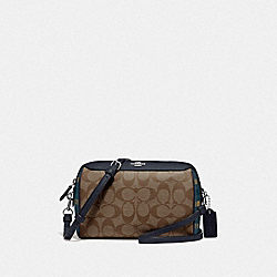 BENNETT CROSSBODY IN SIGNATURE CANVAS WITH GINGHAM PRINT - NAVY KHAKI MULTI/SILVER - COACH F76630