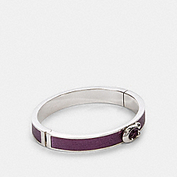 PUSH SIGNATURE HINGED BANGLE - METALLIC PLUM/SILVER - COACH F76634