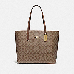 TOWN TOTE IN SIGNATURE CANVAS - KHAKI/SADDLE 2/IMITATION GOLD - COACH F76636