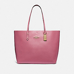 TOWN TOTE WITH SIGNATURE CANVAS INTERIOR - ROUGE/LIGHT KHAKI/GOLD - COACH F76637