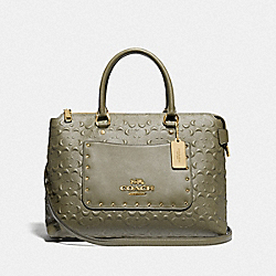 EMMA SATCHEL IN SIGNATURE LEATHER - MILITARY GREEN/GOLD - COACH F76639