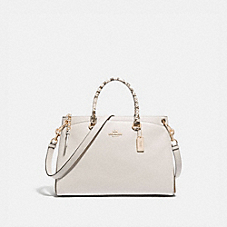 MIA SATCHEL WITH SIGNATURE CANVAS DETAIL - KHAKI/CHALK MULTI/GOLD - COACH F76642