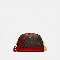 DOME CROSSBODY IN SIGNATURE CANVAS - IM/BROWN TRUE RED - COACH F76674