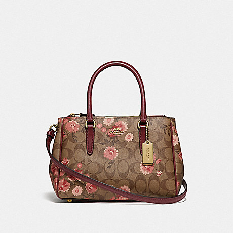 COACH MINI SURREY CARRYALL IN SIGNATURE CANVAS WITH PRAIRIE DAISY CLUSTER PRINT - KHAKI CORAL MULTI/IMITATION GOLD - F76682