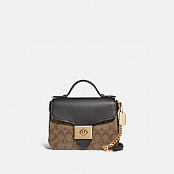 CASSIDY TOP HANDLE CROSSBODY IN SIGNATURE CANVAS - IM/KHAKI/BLACK - COACH F76687IMCBI