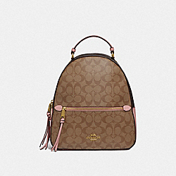 JORDYN BACKPACK IN BLOCKED SIGNATURE CANVAS - IM/KHAKI PINK PETAL - COACH F76715