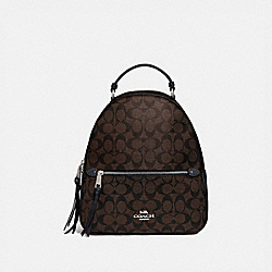 JORDYN BACKPACK IN BLOCKED SIGNATURE CANVAS - SV/BROWN MIDNIGHT - COACH F76715