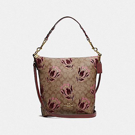 COACH ABBY DUFFLE IN SIGNATURE CANVAS WITH DESERT TULIP PRINT FLOCKING - IM/KHAKI PINK MULTI - F76727