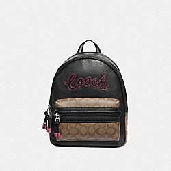 VALE BACKPACK WITH SIGNATURE CANVAS DETAIL - KHAKI BLACK MULTI/SILVER - COACH F76747