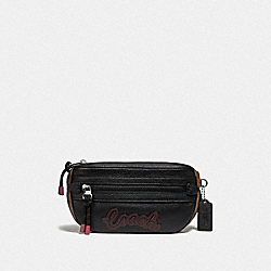 VALE BELT BAG WITH SIGNATURE CANVAS DETAIL - KHAKI BLACK MULTI/SILVER - COACH F76748