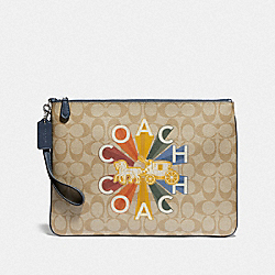 LARGE WRISTLET 30 IN SIGNATURE CANVAS WITH COACH RADIAL RAINBOW - LIGHT KHAKI/DENIM MULTI/SILVER - COACH F76751