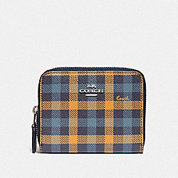 SMALL DOUBLE ZIP AROUND WALLET IN SIGNATURE CANVAS AND GINGHAM PRINT - NAVY KHAKI MULTI/SILVER - COACH F76753