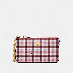 LARGE WRISTLET WITH GINGHAM PRINT - BROWN PINK MULTI/GOLD - COACH F76765