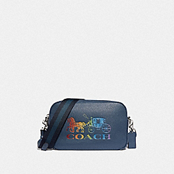 JES CROSSBODY WITH RAINBOW HORSE AND CARRIAGE - DENIM/MULTI/SILVER - COACH F76767