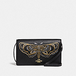 HAYDEN FOLDOVER CROSSBODY CLUTCH WITH CHELSEA ANIMATION - BLACK/MULTI/IMITATION GOLD - COACH F76770