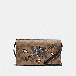 HAYDEN FOLDOVER CROSSBODY CLUTCH IN SIGNATURE CANVAS WITH CHELSEA ANIMATION - KHAKI/BLACK MULTI/IMITATION GOLD - COACH F76771