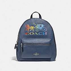 JES BACKPACK WITH RAINBOW HORSE AND CARRIAGE - DENIM/MULTI/SILVER - COACH F76772