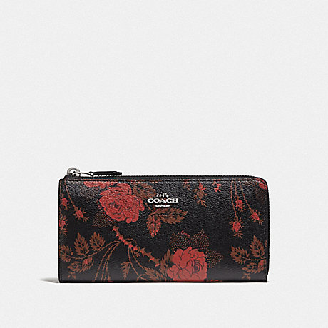 COACH L-ZIP WALLET WITH THORN ROSES PRINT - BLACK RED MULTI/SILVER - F76774