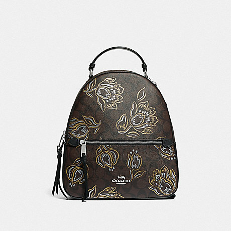 COACH JORDYN BACKPACK IN SIGNATURE CANVAS WITH TULIP PRINT - SV/CHESTNUT METALLIC - F76779