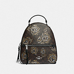 JORDYN BACKPACK IN SIGNATURE CANVAS WITH TULIP PRINT - SV/CHESTNUT METALLIC - COACH F76779