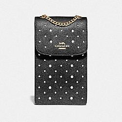 NORTH/SOUTH PHONE CROSSBODY WITH RIVETS - BLACK/IMITATION GOLD - COACH F76783