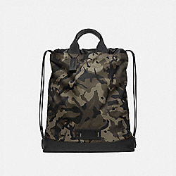 TERRAIN DRAWSTRING BACKPACK WITH CAMO PRINT - GREEN/BLACK ANTIQUE NICKEL - COACH F76784