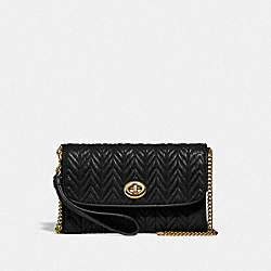 CHAIN CROSSBODY WITH QUILTING - IM/BLACK - COACH F76823