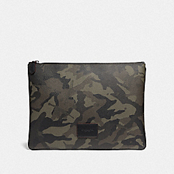LARGE POUCH WITH CAMO PRINT - GREEN/BLACK ANTIQUE NICKEL - COACH F76852