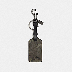 LUGGAGE TAG WITH CAMO PRINT - GREEN/BLACK ANTIQUE NICKEL - COACH F76853