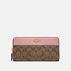 ACCORDION ZIP WALLET IN SIGNATURE CANVAS - IM/KHAKI PINK PETAL - COACH F76873