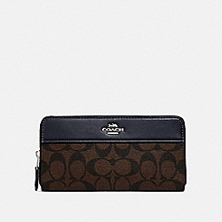 ACCORDION ZIP WALLET IN SIGNATURE CANVAS - SV/BROWN MIDNIGHT - COACH F76873