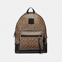 WEST BACKPACK IN SIGNATURE CANVAS WITH PATCH - TAN/BLACK ANTIQUE NICKEL - COACH F76876