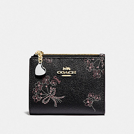 COACH SNAP CARD CASE WITH RIBBON BOUQUET PRINT - IM/BLACK PINK MULTI - F76880