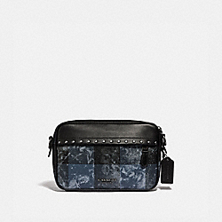 GRAHAM CROSSBODY WITH GRUNGE PLAID PRINT AND STUDS - QB/DENIM - COACH F76904