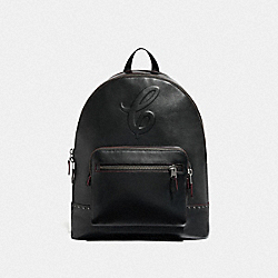 WEST BACKPACK WITH SIGNATURE MOTIF AND STUDS - QB/BLACK - COACH F76909