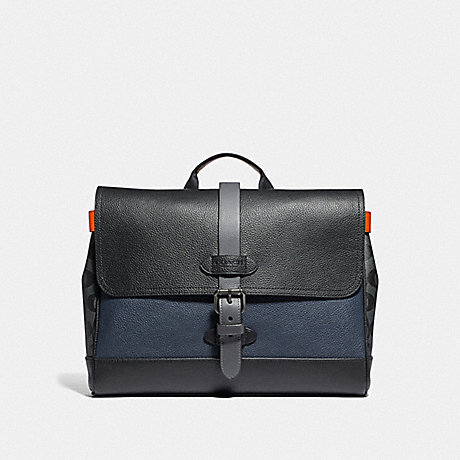 COACH HUDSON SMALL MESSENGER WITH COLORBLOCK SIGNATURE CANVAS - QB/MIDNIGHT NAVY MULTI - F76929