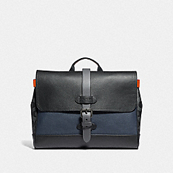 HUDSON SMALL MESSENGER WITH COLORBLOCK SIGNATURE CANVAS - QB/MIDNIGHT NAVY MULTI - COACH F76929