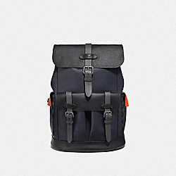 HUDSON BACKPACK WITH COLORBLOCK SIGNATURE CANVAS - QB/MIDNIGHT NAVY MULTI - COACH F76931