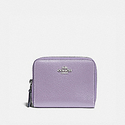 SMALL DOUBLE ZIP AROUND WALLET - LILAC/SILVER - COACH F76935