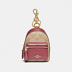 BACKPACK COIN CASE IN SIGNATURE CANVAS - LIGHT KHAKI/ROUGE/GOLD - COACH F76937