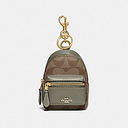 BACKPACK COIN CASE IN SIGNATURE CANVAS - KHAKI/MILITARY GREEN/GOLD - COACH F76937