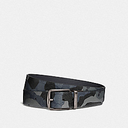 CUT-TO-SIZE REVERSIBLE BELT IN SIGNATURE CANVAS WITH CAMO PRINT - BLUE MULTI/BLACK ANTIQUE NICKEL - COACH F76949