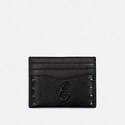 SLIM CARD CASE WITH SIGNATURE MOTIF AND STUDS - QB/BLACK - COACH F76967