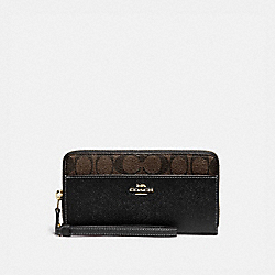 ACCORDION ZIP WALLET WITH SIGNATURE CANVAS DETAIL - BROWN/BLACK/GOLD - COACH F76971